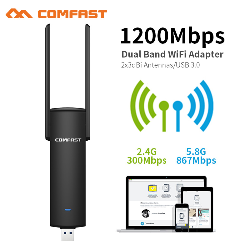 COMFAST Usb Wifi Adapter 1200Mbps Dual Band Wi-fi dongle 2.4Ghz + 5Ghz Computer AC Network Card USB 3.0 Antenna 802.11ac/b/g/n(China)