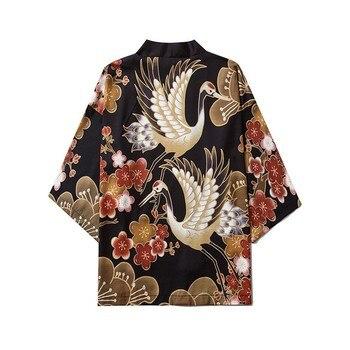 Japanese Style Kimono Cardigan Crane Pattern Yukata Summer New Male Haori Traditional Men Harajuku Streetwear Samurai Costume недорого