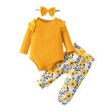 Одежда для новорожденных девочек однотонный хлопковый комбинезон
