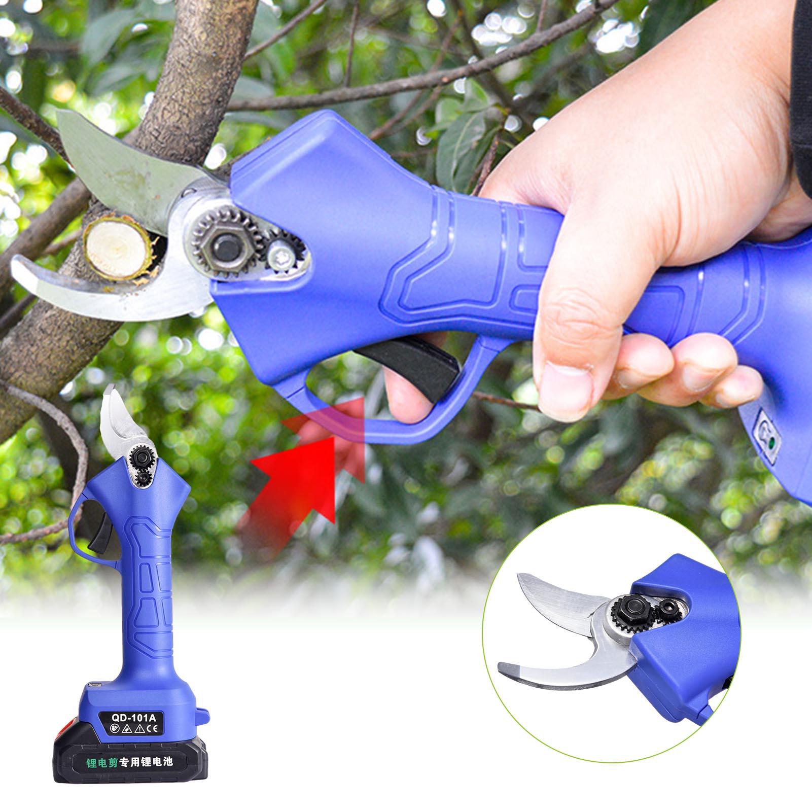 Electric Pruning Shear Cordless Secateurs 2PCS Lithium Battery Pruner Fruit Tree Branch Trimmer Cutter Scissor Garden Power Tool