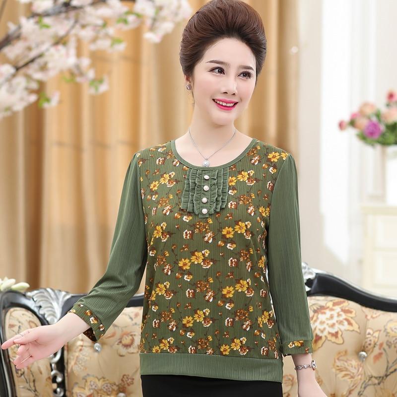Female Lady Three Quarter Sleeve Chiffon Shirt Middle-age Women Loose Large-sized Autumn Summer Blouse Tops Mother's Shirt Dress