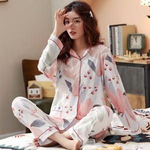 Image 4 - Bzel新ファッションパジャマの女性の綿のかわいいパジャマ女の子長袖トップス + パンツポケットポルカドットカジュアルラウンジ着用