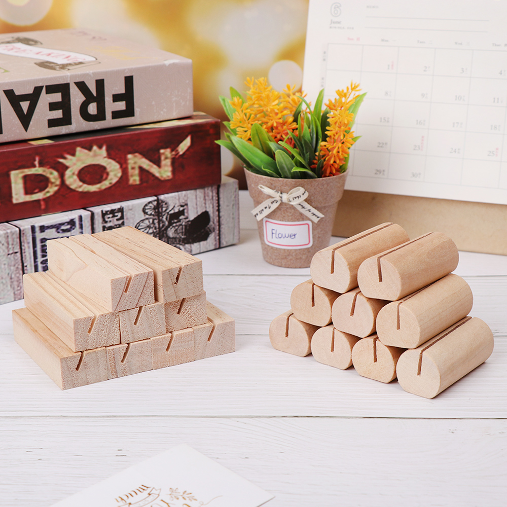 1Pcs Fashion Natural Wood Notes Clips Photo Holder Clamps Support Desk Card Messages Crafts Wedding Office School Supplies