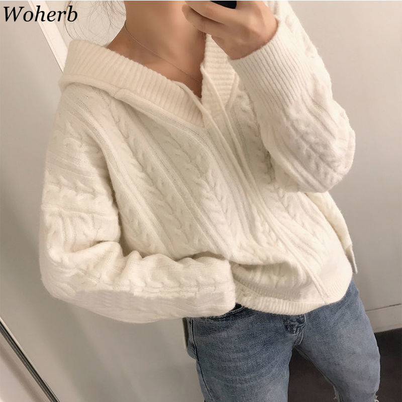 Wohern Korean Fashion Ladies Hooded Sweater Women 2020 Knitting White Sweaters Casual Pullover And Jumper Loose Knitwear Autumn