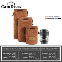 CamDress Camera Lens bag suede Bucket lens pouch Belt camera bag for Canon Sony Nikon olympus funda DSLR bag Photography bag four size soft neoprene camera lens pouch bag case with hanger lens cover protector for canon nikon pentax sony olympus dslr