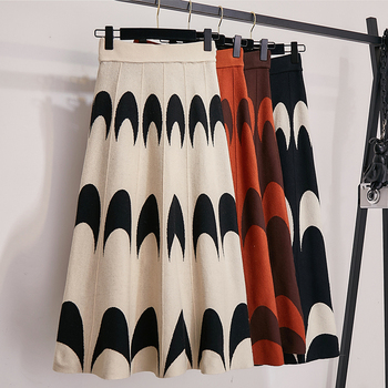 Winter Autumn 2019 Skirts Womens Knitting Wool Pleated Long Skirt Moon Print High Waist Elastic Large Hem Midi Skirts 1