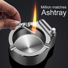 Retro Metal Ashtray Ten Thousand Match Lighter Multifunction Ashtray CLH@8