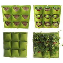 Bolsas verdes para cultivo de plantas, macetero Vertical de jardín, en la pared para cultivo de plantas colgantes, 9/18/36/64 bolsillos