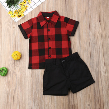 Kid Baby Boys Clothes Set 2019 Toddler Infant Summer Short Sleeve Red Plaid Tops Shirt Shorts Clothing 2Pcs Formal Outfits 1