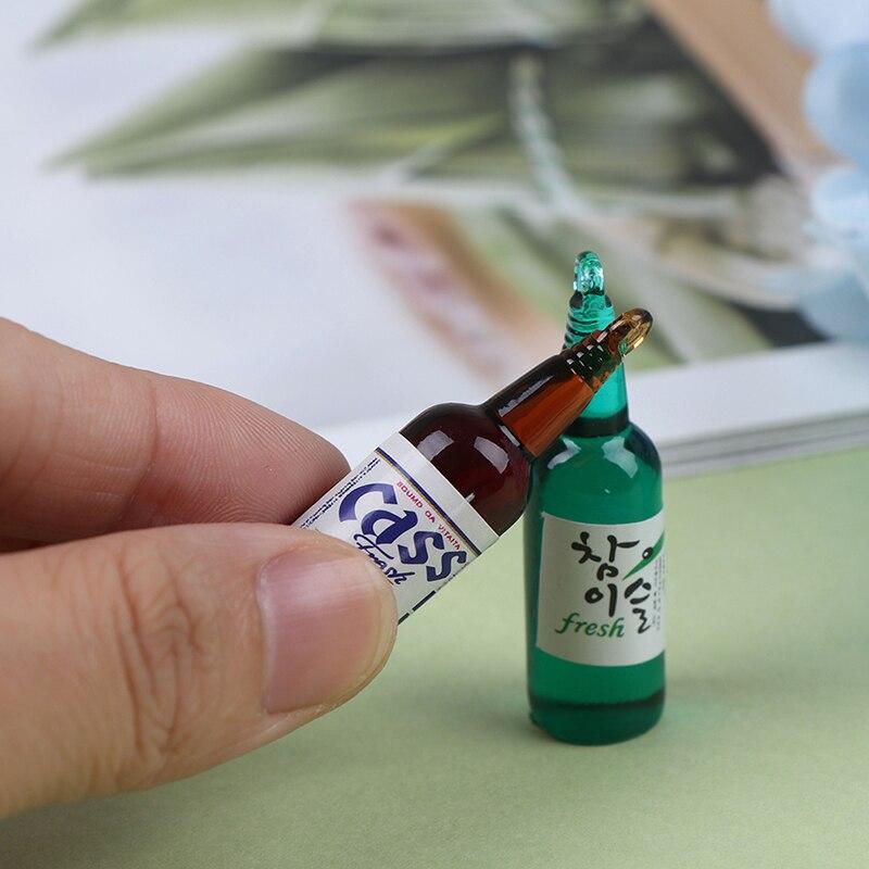 5pcs Cute Dollhouse Miniature Simulation Beer Bottles Pretend Toys