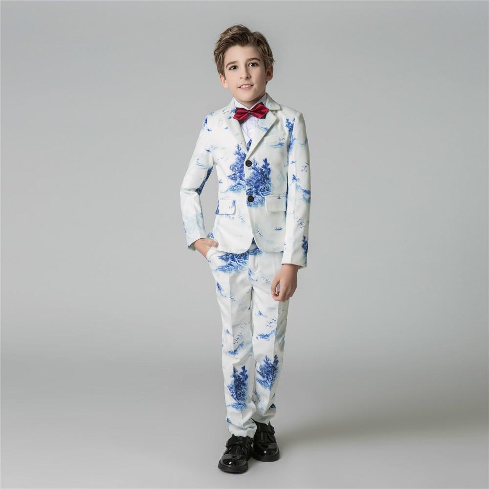 YuanLu Boys Suits 5PCS Blazer Jacket For Wedding Party Piano Kids Suit Slim Fit Formal Suits Lnk Painting