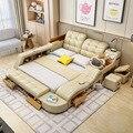 Роскошная многофункциональная Массажная кровать из натуральной кожи, современная кровать Ultimate с хранилищем, светодиодсветильник ка, мебел...