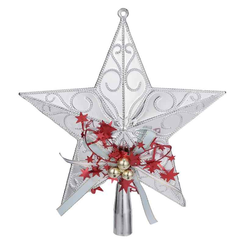 20cm Plastic Christmas Tree Star Topper Glittering Christmas Tree Hanging Ornaments For Home Party Decoration