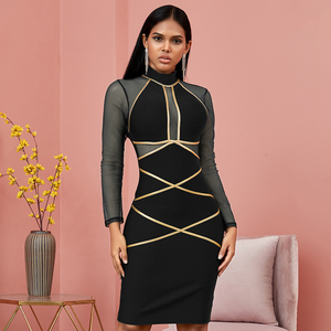 Image 4 - Spring Green Long Sleeve Bodycon Bandage Dress Women Sexy Hollow Out Mesh Dresses Autumn Celebrity Evening Runway Party Vestidos