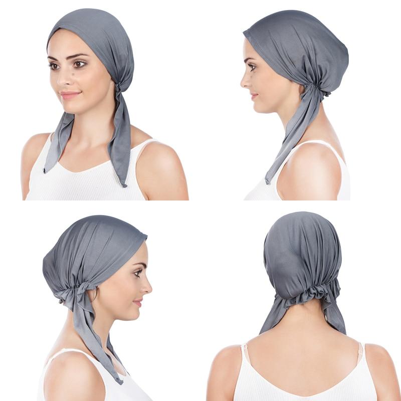 Однотонная мусульманская женская стандартная шапка, Арабская повязка на голову, шарф, тюрбан, шапочка, готовая к ношению, хиджаб, женские ша...
