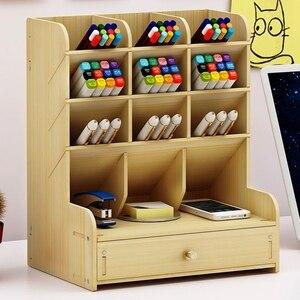 Image 2 - 13 rejillas de madera multifunción soporte de escritorio almacenamiento pincel cosmético caja para lápiz cosmético cepillo Estante de presentación de joyería