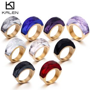 Женские кольца из нержавеющей стали KALEN, богемные кольца золотистого цвета, белый камень, стекло, вечерние ювелирные изделия для девушек, ра...