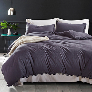Image 4 - Yimeis Bed Linen Set Solid Color Duvets And Linen sets Washed Cotton Queen Size Bed Sheets Set  BE47025
