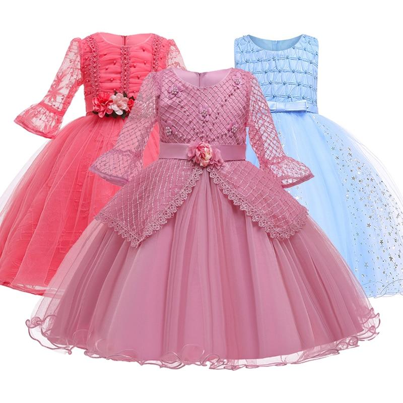 Romantic Flower Girl Wedding Bridesmaid Group Performance Petal Dress Girl Birthday Party Exchange First Dress Vestidos