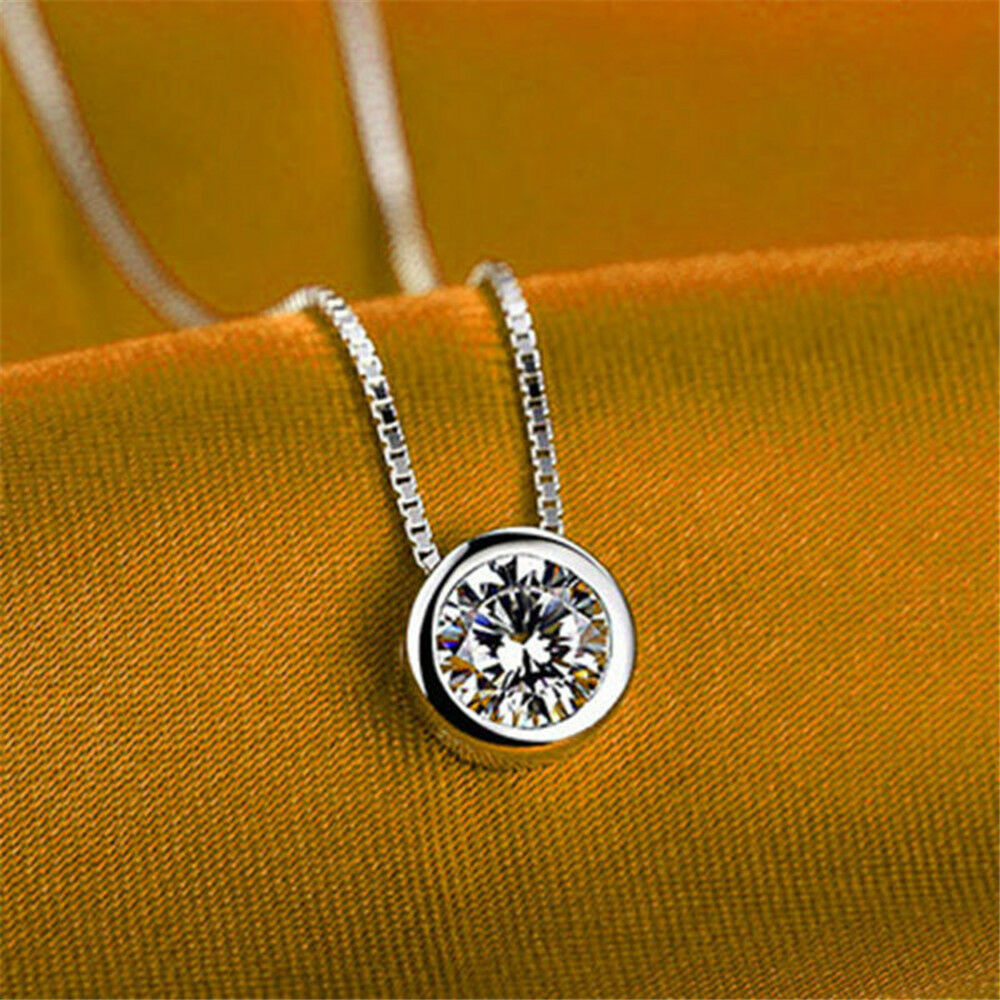 Charm  Shiny Pendant Necklaces for Women Classical Round Crystal Choker Necklace Silver Plated Fashion Jewelry