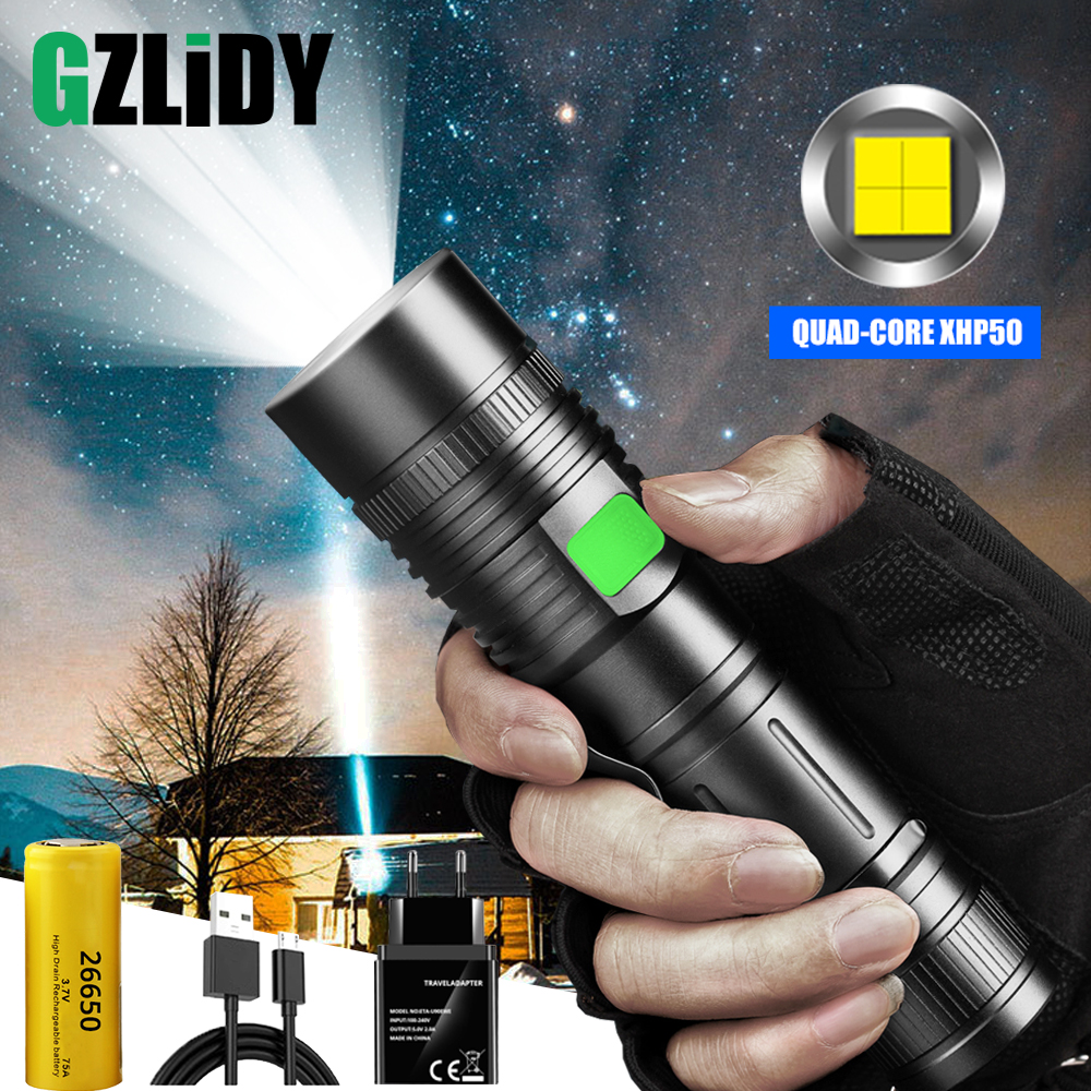 Powerful LED Flashlight Super Bright XHP50 Tactical Torch USB Rechargeable Camping Light Waterproof Zoomable Lantern 5 Mode Lamp