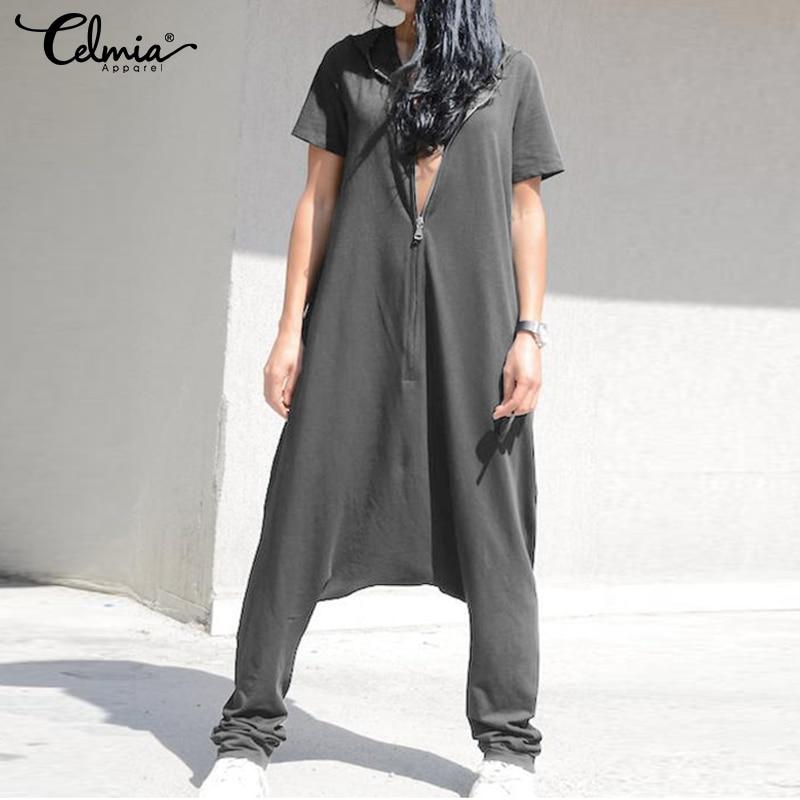 Celmia Plus Size Jumpsuits 2020 Women Short Sleeve Overalls Hoodies Loose Harem Pants Solid Casual Zipper Rompers Femme Pantalon