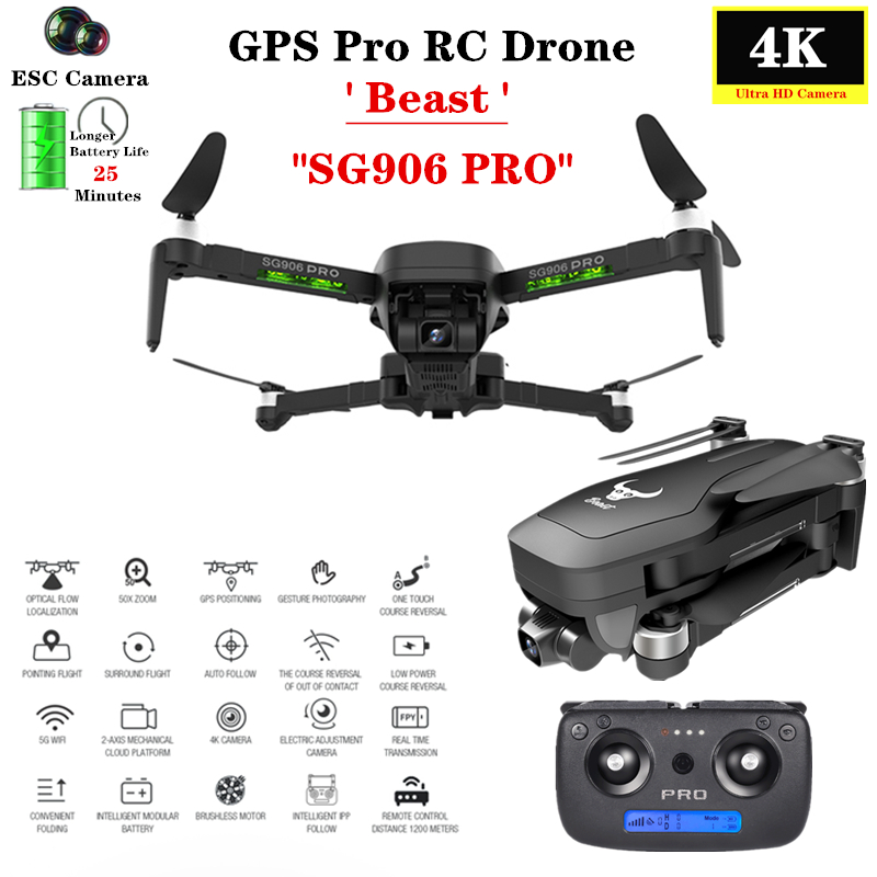 GPS Drone With Two-axis Anti-shake Self-stabilizing Gimbal Wifi FPV 4K Camera Brushless Quadcopter SG906 PRO Vs F8 X12 Dron