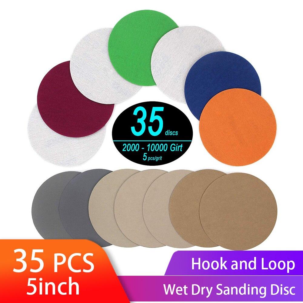 35PCS 5 Inch Dry & Wet Sanding Disc Round Assortment Sandpaper Grit 2000/2500/3000/4000/5000/7000/10000 Hook Loop Abrasive Paper|Abrasives|   - AliExpress
