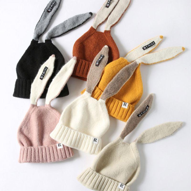 2019 crianças menina & menino bebê inverno quente malha bonito coelho longo orelha gorro chapéu 2019 outono chapéus boné