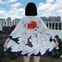 Japanese Kimono Traditional Clothing Crane Carp Anime Kimono Dress Shirts Women Samurai Haori Yukata Man Cardigan Shirt