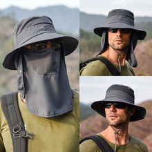 Sombrero de sol a prueba de viento para exteriores, mantón removible, sombrero con rejilla transpirable para pesca, ciclismo, senderismo, gorros para acampar