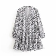 New French Style Women elegant v neck printing hem pleated ruffles mini Dress La