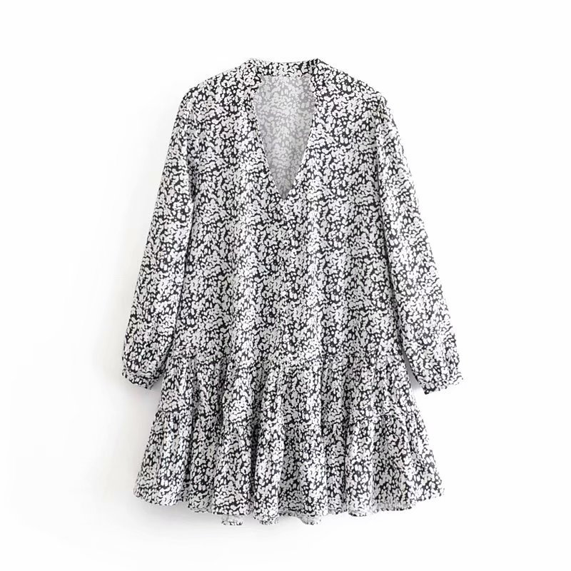 New French Style Women elegant v neck printing hem pleated ruffles mini Dress Ladies chic long sleve casual loose Dresses DS3004