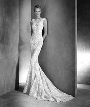 2018 Bodice neckline and plunging V-back with scalloped and decorated mermaid bridal gown lace mother of the bride dresses sequin bodice sheer v back plunging bodysuit