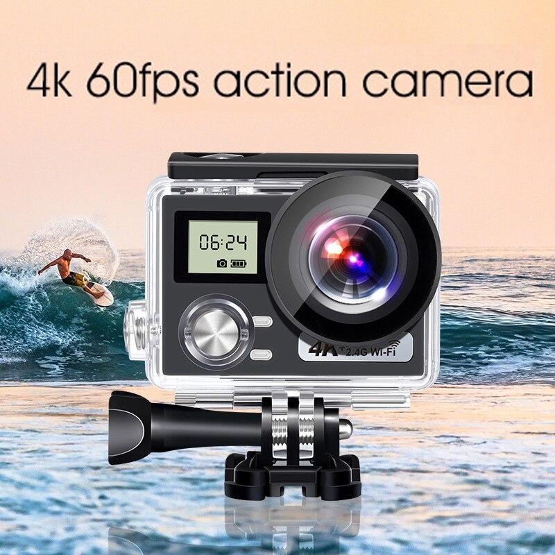 Action Camera 4K HD Anti-Shake 30M Underwater Waterproof Ultra-Thin WiFi Camera with Camera Accessories Kit