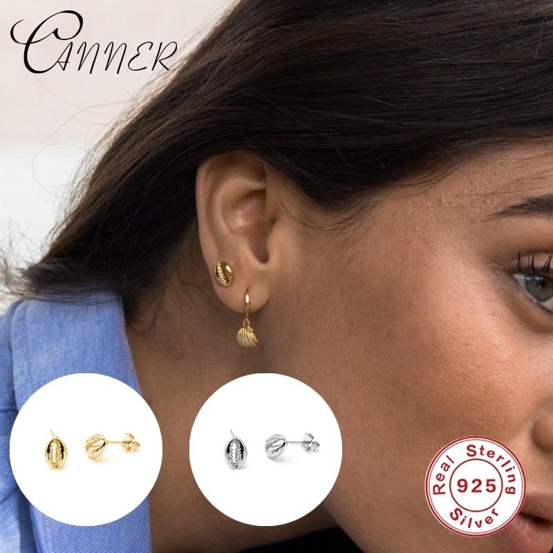 CANNER Light Luxury 100% Real 925 Sterling Silver Stud Earrings for Women INS Style Shell Earings Piercing Earring pendientes