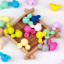50Pcs Food Grade Silicone Mini Mickey Mouse Bead Baby Teethers Infant Chewable N
