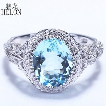 HELON Vintage Sterling Silver 925 Flawless 10x8mm Oval Sky Blue Topaz Engagement Wedding Women Fine Jewelry Art Deco Style Ring