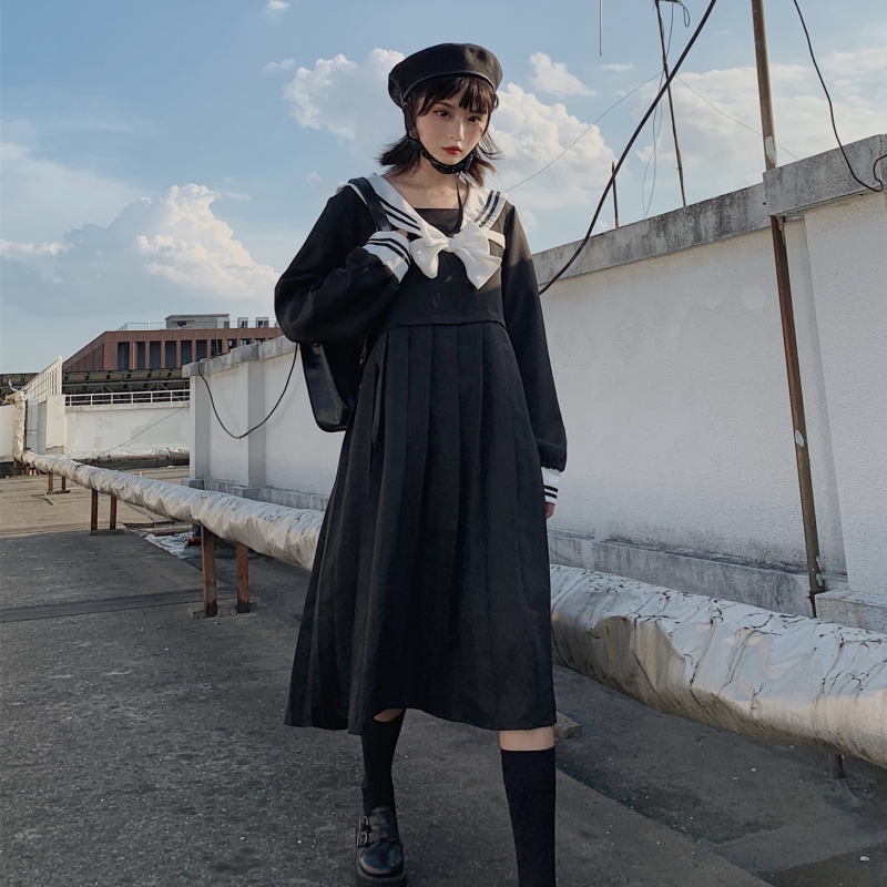 Harajuku Sailor Collar Navy Dress Japanese Lolita Sweet Bow Girl Retro Cotton Kawaii Preppy Style Long Sleeve Dresses