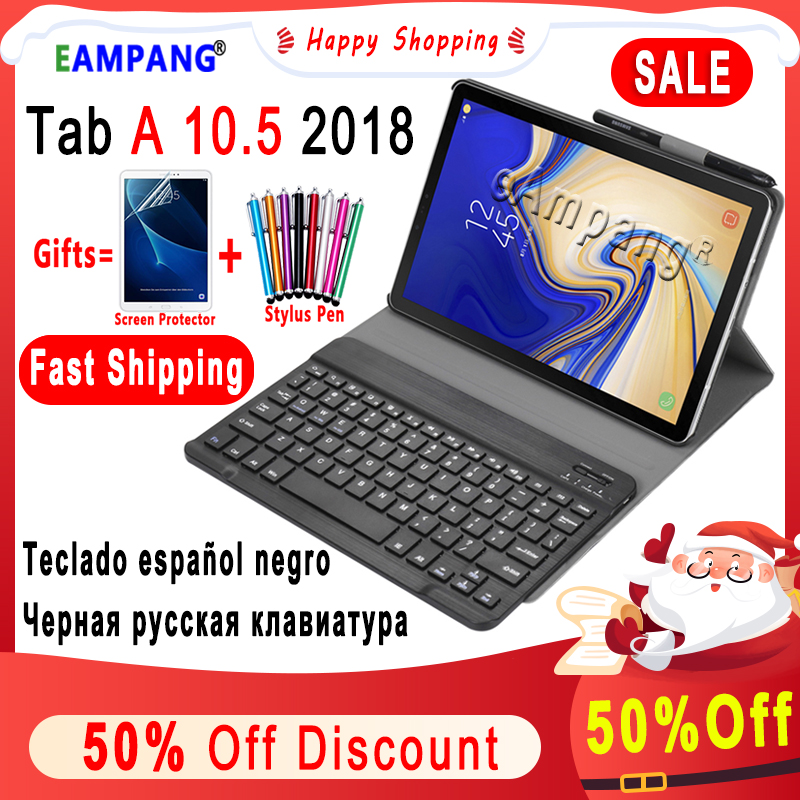 Russian Spanish English Keyboard For Samsung Galaxy Tab A 10.5 2018 Keyboard Case T590 T595 SM-T590 SM-T595 Leather Cover Funda