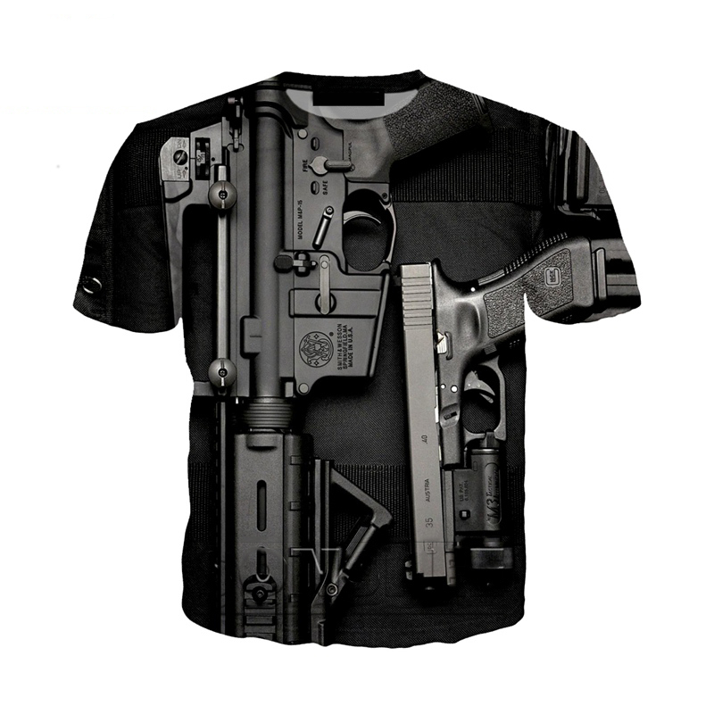 New Summer 3D Gun T Shirts Funny 3d Printed Streetwear Beretta Gun Tshirt Fashion Casual Short Sleeve Punk Gun 3d T Shirts