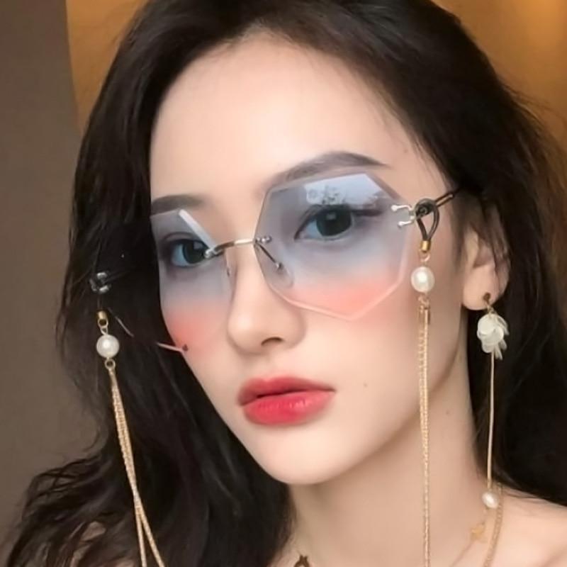 Fashion Lady Sun glasses 2020 Rimless Sunglasses Women Brand Designer Alloy Frame Classic Eyewear Shades OculoS De Sol|Women