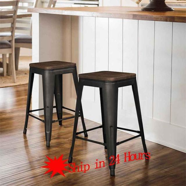 2pcs Industrial Style Wrought Iron Modern Minimalist Stool Fashion Creative Home Living Room Bar Chair For Coffee Break HWC