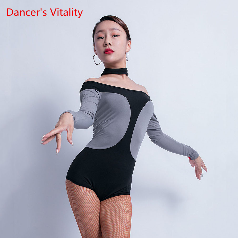 Latin Dance Profession Practice Clothing Female Adult Sexy Body Suit New Winter Competition Performance Onesies