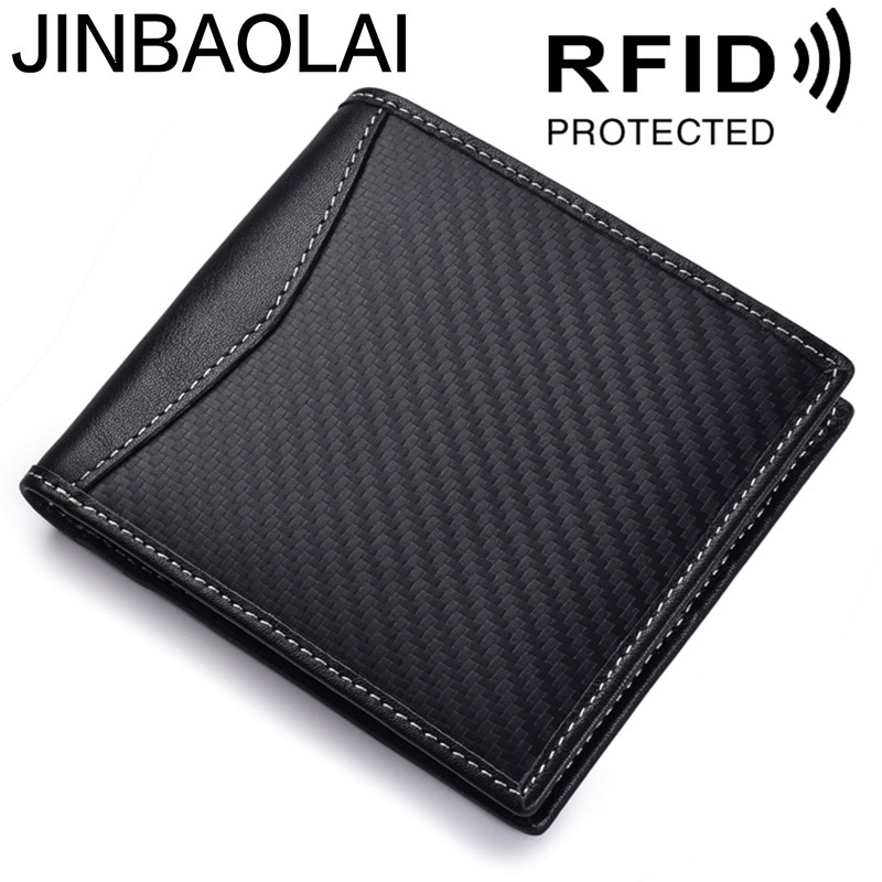 JINBAOLAI Men's Wallet Carbon Fiber Dermal Holder Top Quality Folding Male Purse Coin Pocket Brand Simple RFID Men Purses