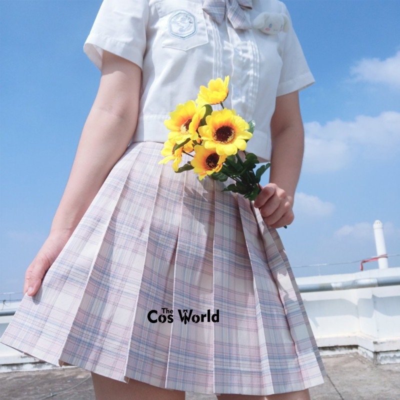 [Cheese Peach] Girl's Summer High Waist Pleated Skirts Plaid Skirts Women Dress For JK School Uniform Students Cloths