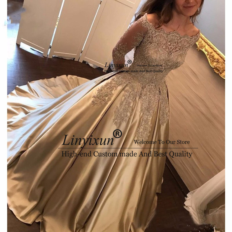 Elegant 2020 Off Shoulder   Prom     dresses   Long Sleeves Vestidos de fiesta   dress   for graduation Formal Evening   Dress   New   Prom     Dress