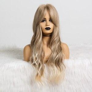 Image 5 - Długie faliste peruki syntetyczne brązowe do blond włosy typu Ombre z grzywką dla kobiet Afo Cosplay peruki środkowa część włókno termoodporne