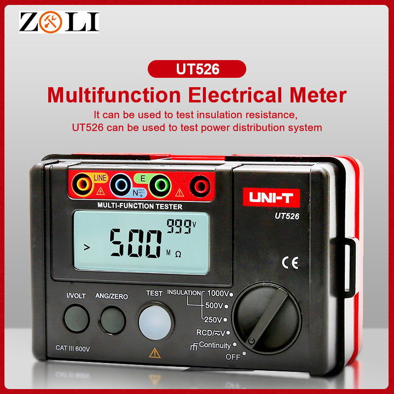 UNI T UT526 Insulation Tester Multi function digital meter Electrical  Earth Resistance Meter RCD ohm Tester Meters multimeter-in Resistance Meters from Tools    1
