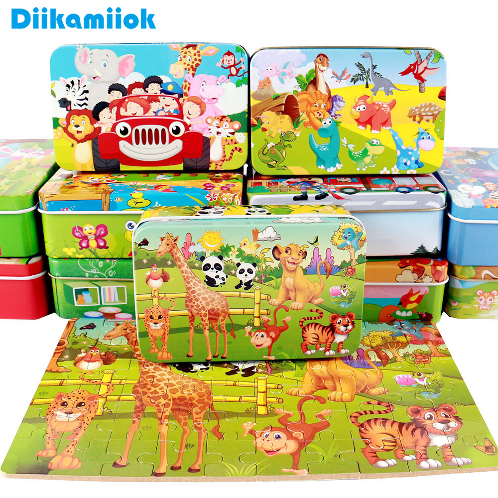 New 60 Pieces Wooden Puzzle Kids Toy Cartoon Animal Wood Jigsaw Puzzles Child Early Educational Learning Toys for Christmas Gift(China)